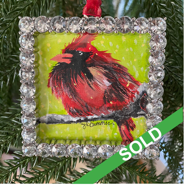 2020 Ornament_Grumpy Male Cardinal SOLD.