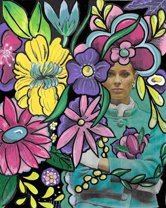 Funky Flowers Vintage Lady
