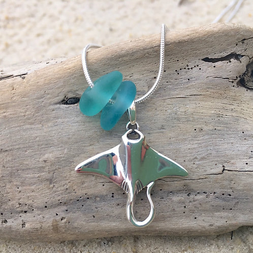Sea Glass and Sterling Silver Sting Ray Necklace