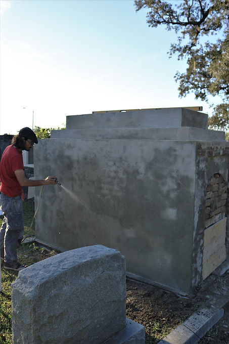 New Orleans cemetery repair, tomb restoration, tomb repair, cemetery restoration, New Orleans grave tomb cleaning painting