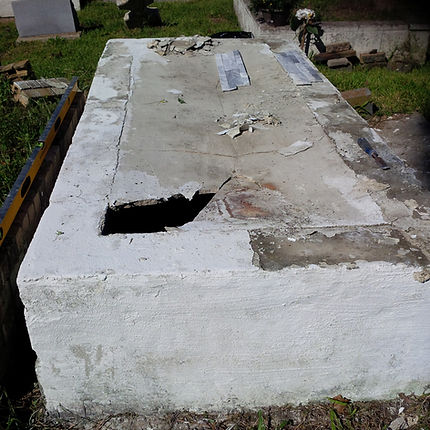 New Orleans tomb repair restoration cemetery grave cleaning painting