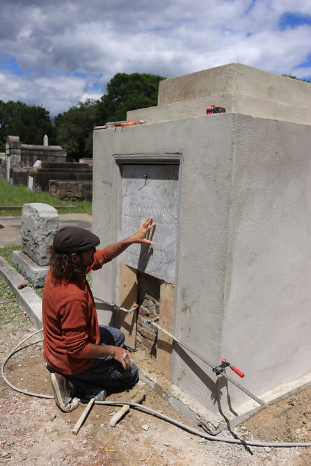 New Orleans cemetery restoration, tomb repair, cemetery repair, tomb restoration, New Orleans tomb grave cleaning painting