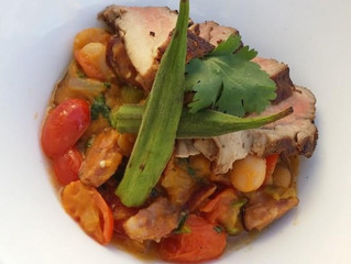 Cajun Spiced Pork Tenderloin W/Butter Bean Andouille Sausage And Sweet Potato Ragout