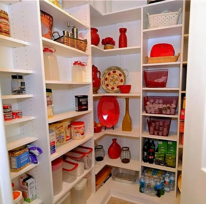 Pantry that is staged to sell using items from around the house.