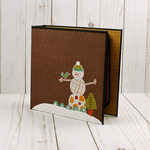 Snowman with Bird mini scrapbook album for photos and journaling.