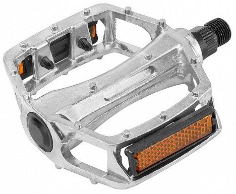 Педали со светоотражателями, алюминиевые серебристые