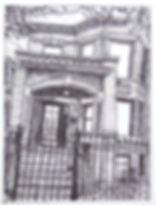 drawing sawyer ave pen ink door house chicago caren king choi