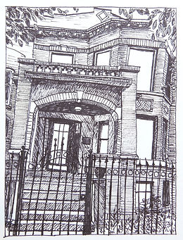 drawing sawyer ave pen ink door house chicago caren king choi
