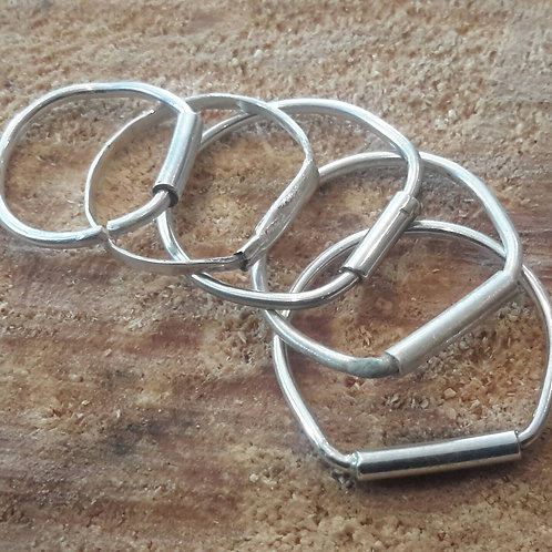 Set of 3 stirling  Silver stack Rings