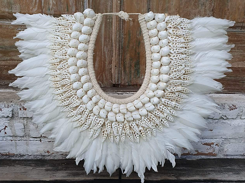 Medium Size White Feather & Shell Combo with Stand