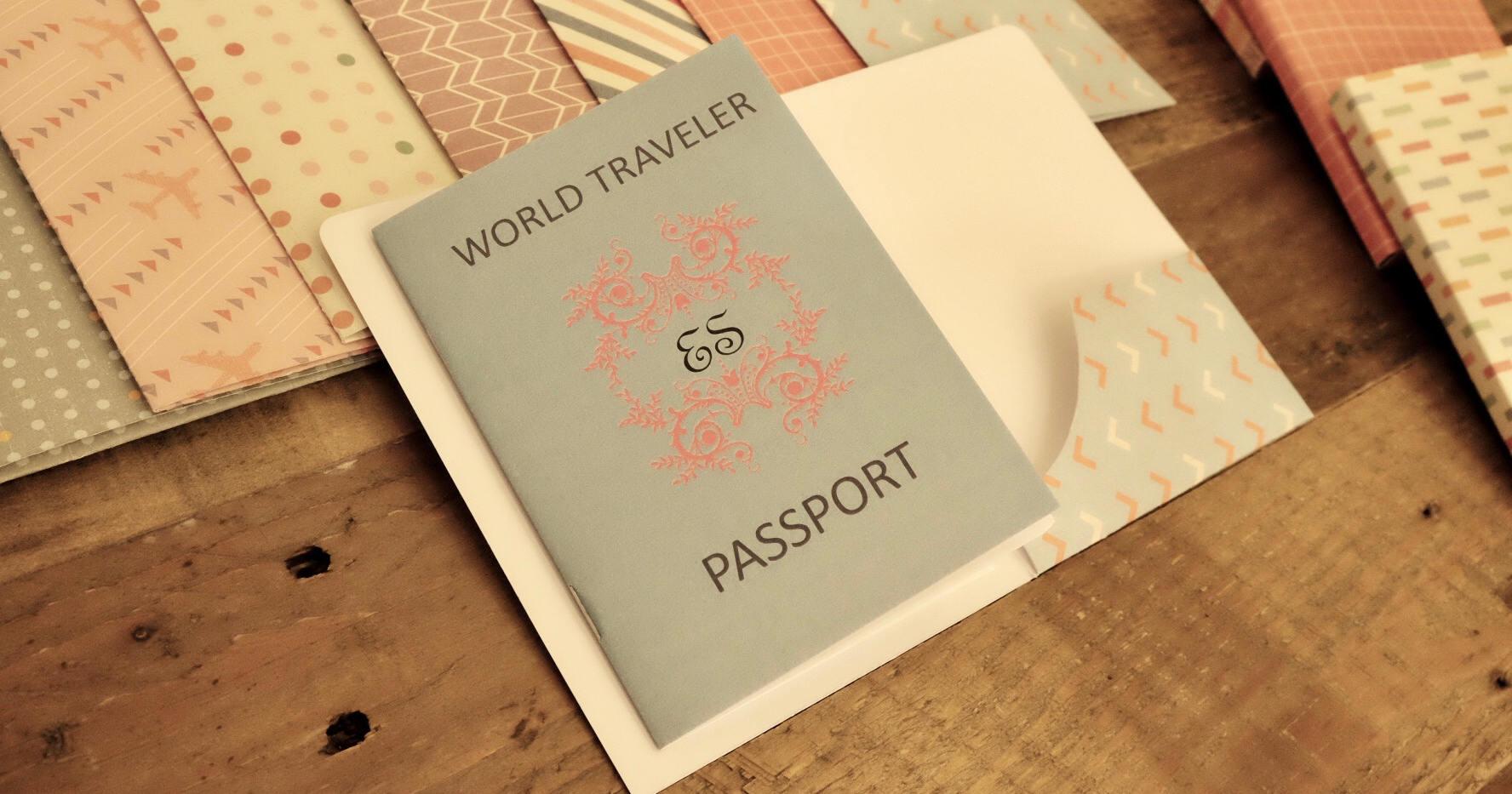 World Traveller Passport Invitations - P