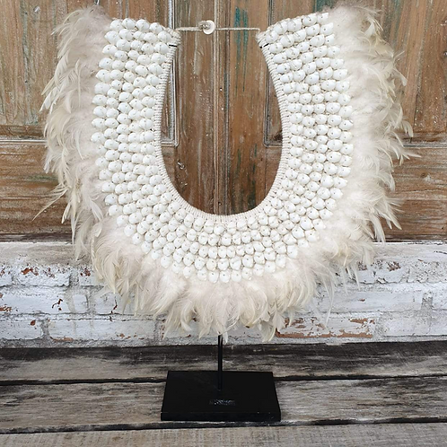 Large Size White Feather & Shell Combo with Stand