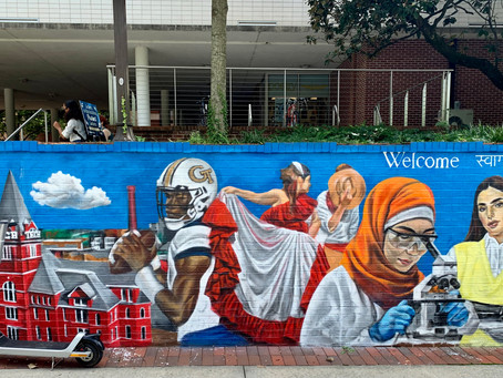 Murals welcoming Georgia Tech students in front of Skiles Building