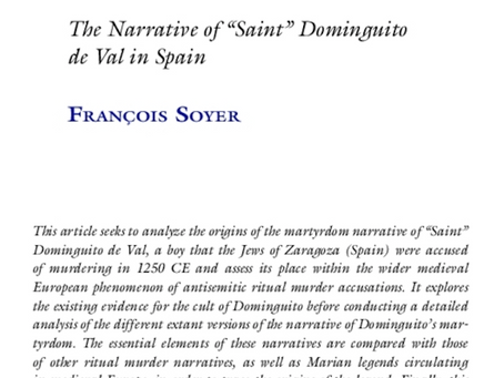 New study on reception of blood libel in Spain
