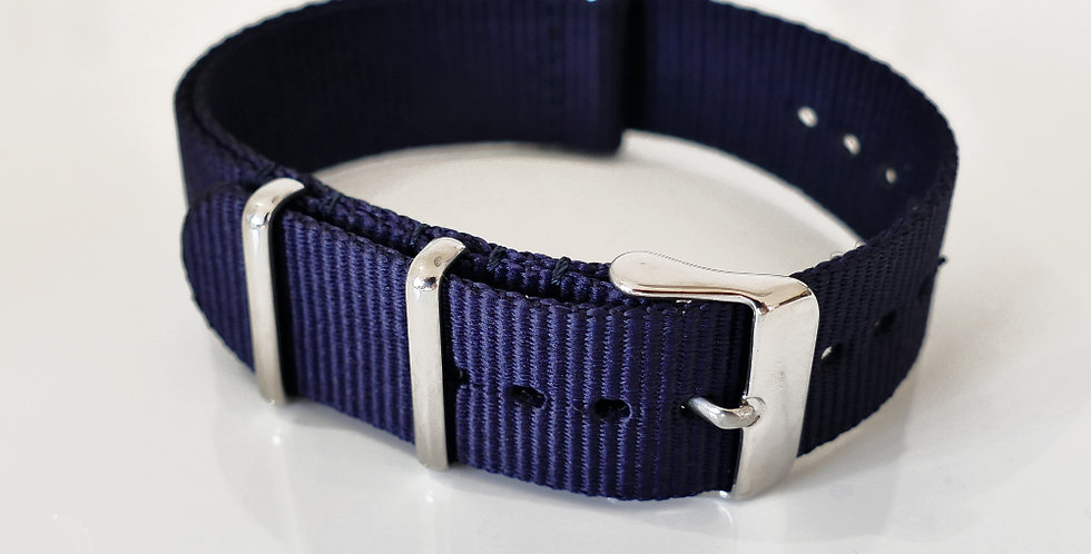 NATO strap Midnight Blue - Polished Steel 20mm
