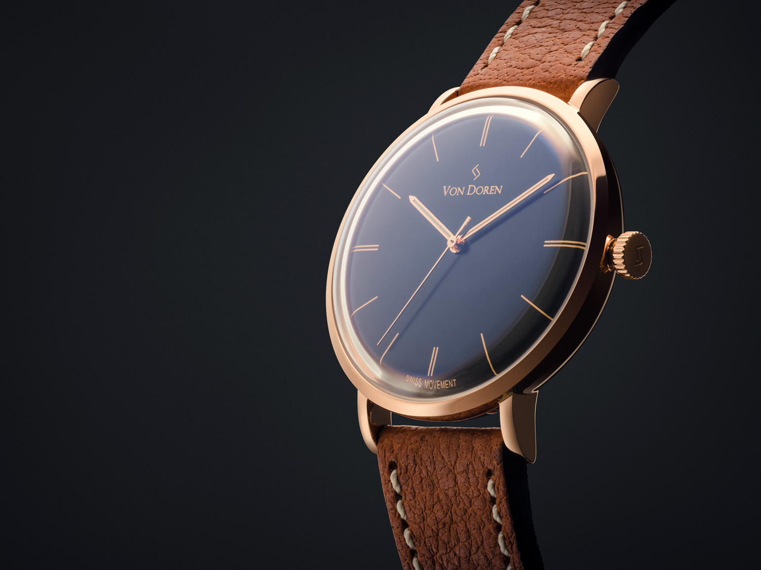 Von Doren Watch Black rose gold