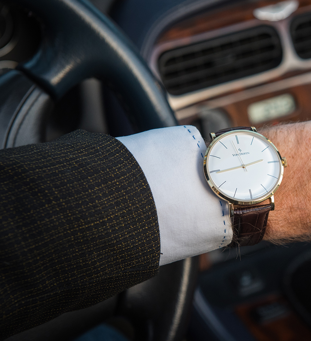 Von Doren watch in Aston Martin