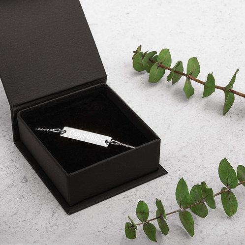 Engraved Silver Bar Chain Bracelet
