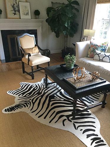 Tapete de Couro Zebra Branca Off-white