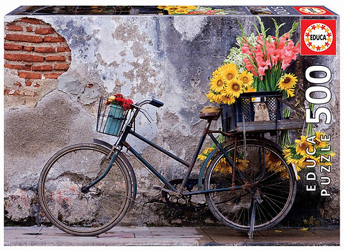Fahrrad mit Blumen 500 Teile Puzzle