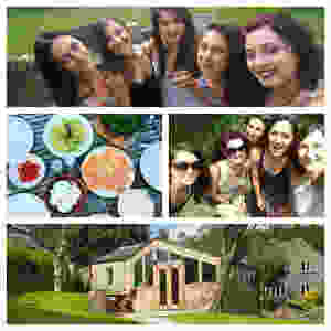 Photo collage of: group of 5 girls, breakfast shot, group of girls on a walk, lodge