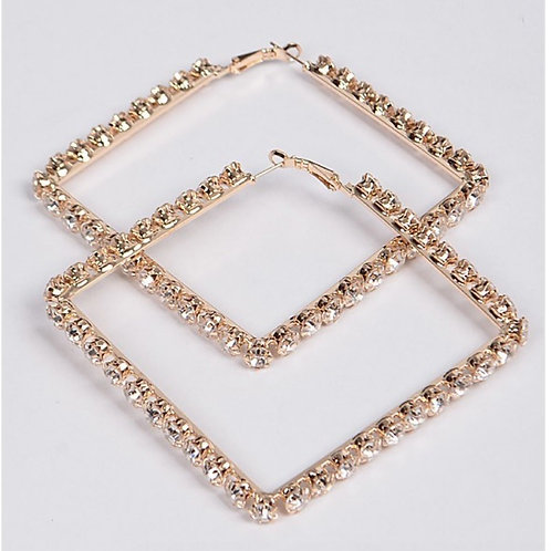 Square Bling Hoops
