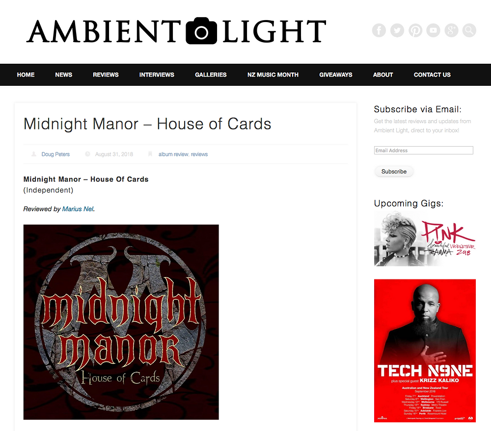 Ambient Lights Review of Midnight Manors 'House of Cards'