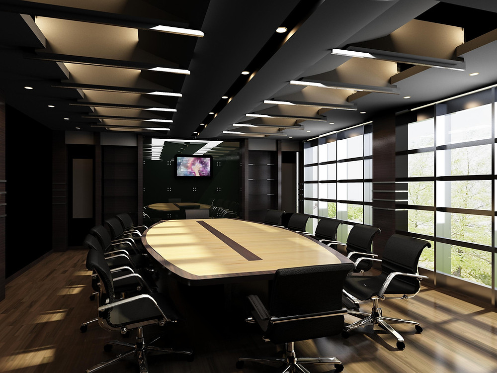 Office board room with natural lighting