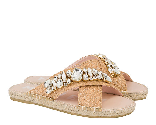 Manebi Flat Sandals  Natural Diamonds Belts