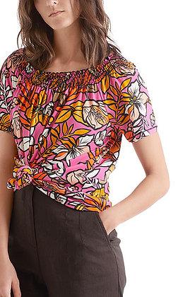 MARC CAIN Florales T-Shirt mit Carmen-Ausschnitt