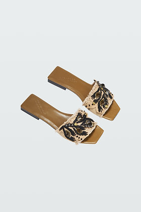 Dorothee Schumacher EMBROIDERED DREAMS CANVAS FLAT SANDAL