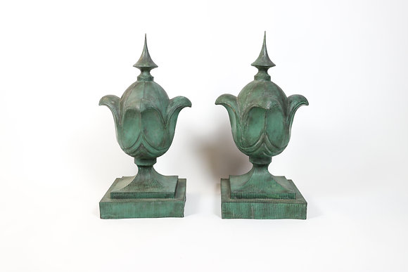 Pair of Copper Finials with Fabulous Patina