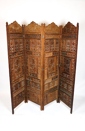 4-Panel Hand-carved Teak Screen