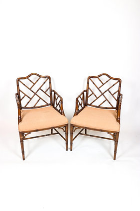 Pair of Chinese Chippendale Arm Chairs