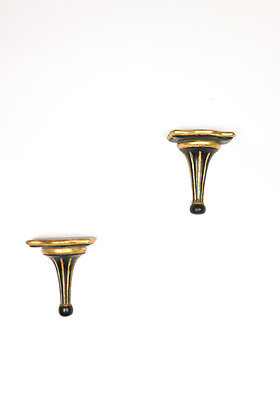 Pair of Wooden Wall Brackets - Black and Gold