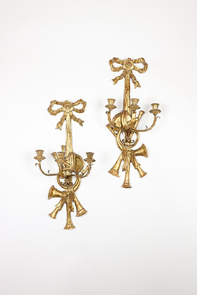 Pair or Carved Giltwood Wall Sconces