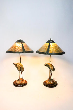 Pair of Brass Crane Lamp