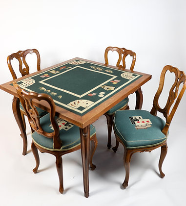 French Style Card Table and Four Chairs