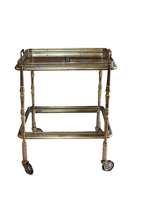 Small Italian Brass and Glass Tray Table