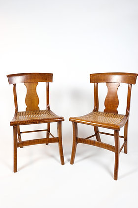 Set of Eight Rare Tiger Maple American Dining Chairs