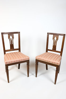 Pair of 18th Century Italian Walnut Side Chairs