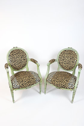 Pair of French Fauteuils in Leopard Print