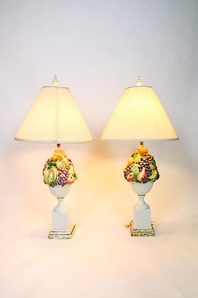 Pair of Lamps with Fruit Motif