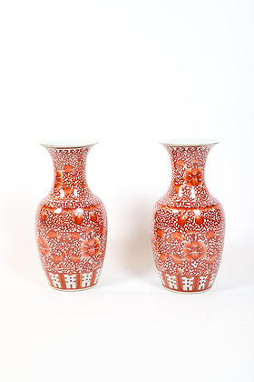 Pair of Antique, Hand Painted Chinese Vases