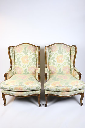Graceful Pair of French Style Wing Chairs in Mint Condition