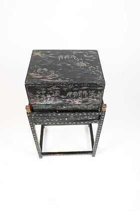 Late 19th-Century Lacquered Lady's Box on Stand