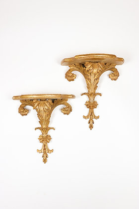 Pair of Hand-carved Italian Wall Brackets