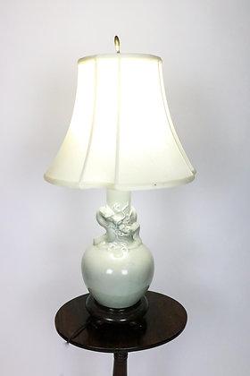 Unusual Double Dragon Celadon  Vase Lamp