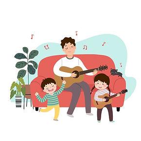 ilustracion-padre-dibujos-animados-tocan