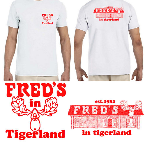 Fred's Pocket T-shirt with building on back